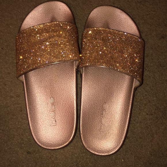 ゴールド glitter slides on sale 755fb e2bf6